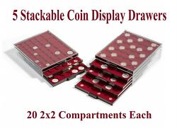 5 Lighthouse Coin Tray Drawers Boxes For 100 2x2 Snaplock Holder Flip - Burgandy