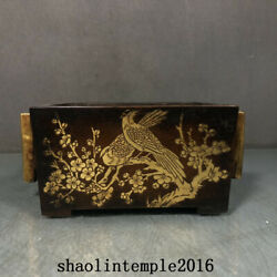 China Ming Dynasty Red Copper Gilding Flower And Bird Pattern Square Ear Furnace