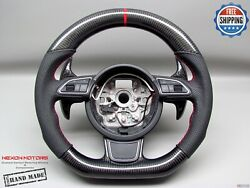 Audi 4g S6 A6 S7 A7 4h A8 S8 5red Ring Perforated Carbon Small Steering Wheel V2