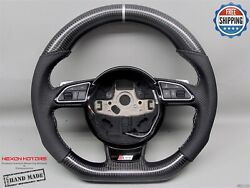Audi 4g Rs7 Rs6 Rs5 Rs4 Rs3 S5 S4 5mm Silver Perforated Carbon Steering Wheel V4