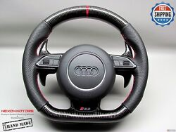 Audi Rs7 Rs6 Rs5 Rs4 Rs3 S5 S4 5mm Red Ring Perforated Carbon Steering Wheel V2