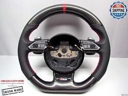 Audi Rs4 Rs5 Rs6 Rs7 Rs3 S5 S4 S3 Red Ring Perforated Carbon Steering Wheel V1