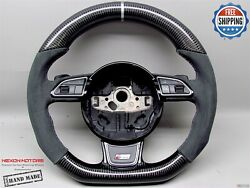 Audi 4g Rs7 Rs6 Rs5 Rs4 Rs3 S5 S4 5mm Silver Alcantara Carbon Steering Wheel V4