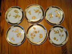 Set Of Six Brownfieldand039s For And039s Gold And Cobalt Fine China Plates Ca. 1884