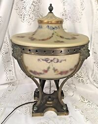 Ant Pairpoint Urn Lamp W/ Patinated Metal Base Working Condition Rare And Unusual