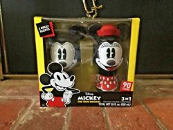 New 90th Anniversary Mickey And Minnie Mouse 3 In One Wash Set Figural Bottles