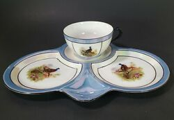 Vintage German Luster Ware Tea Cup And Serving Tray Blue Trim And Pheasant Pictures