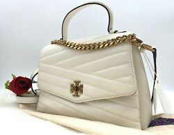 NWT $498 Tory Burch Kira Chevron Top Handle Quilted Leather Satchel Bag In Ivory $369.99