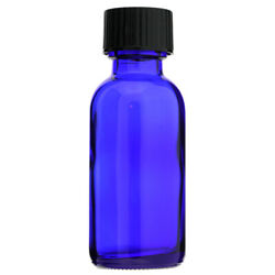 1 Oz 30ml Cobalt Blue Boston Round Glass Bottles With Coned Caps 12 24 72 144