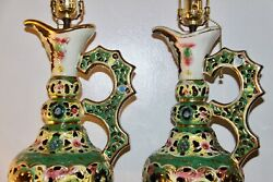Vintage Of Pair Multi Colored Handle Lamp Flower Floral Italy Porcelain
