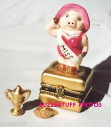 Miss America Piggy-porcelain Hinged-box- Beauty Pageant Winner With Trophy