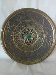 Wall Hanging Zodiac Plate Decor Vintage Israel Antique Brass 1960's Collectibles