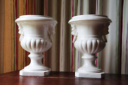 Antique Pair Of Portuguese White Earthenware Architectural Urn Finials