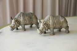 A Pair Of Continental Gray Porcelain Rhinoceros Figures, Early 20th Century