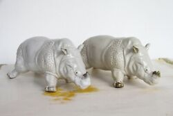 A Large French Pair Of Rhinoceros Figurines, Glazed Earthenware