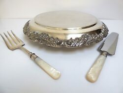 Gorgeous Rare Silver Plate Plateau Cake Stand Rose Rim Footed Platter Tray