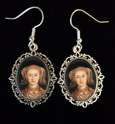 Queen Anne Of Cleves Antique Silver Drop Earrings Henry 8th Tudor