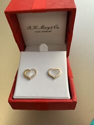 Effy Mother Of Pear Heart Earings And Neckless Set 14k Gold And Dimonds