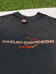 Vintage Harley Davidson Terre Haute Indiana Wabash Valley Embroidered Flame Tee