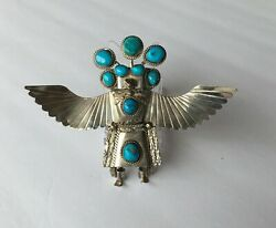 Native American Turquoise And Sterling Silver Eagle Dancer Kachina Bolo Tie Slide