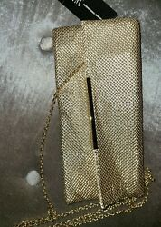 Initials Inc metallic gold clutch handbag with strap new with tags purse $41.70