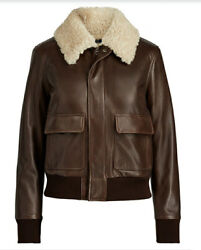 1998 Polo Designer Brown Lambskin Shearling Leather Jacket