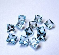 Awesome 5mm To 15mm Natural Sky Blue Topaz Square Faceted Cut Loose Gemstone