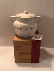 Longaberger Woven Traditions Traditional Red Bean Pot Cookie Jar 32409 Box