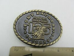 Vintage Bronze Pony Express 125th Anniversary Limited Buckle Source Belt Buckle