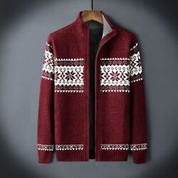 Winter Christmas Party Sweater Thicken Fleece Men Cardigan Knitted Pullover