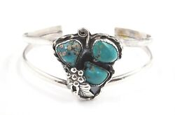 Turquoise And Sterling Silver Split Cuff Bangle Navajo Style Women's Jewellery