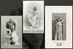 Cabinet Photo Girl Demonstrates Dress W/ Flowers Fashion Sweden Lot Of 3 6466