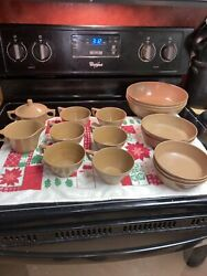 Vintage Texas Ware Sugar/creamer, Coffee Cups, Serving Bowls, Fruit And Soup Bowls