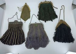 Lot Of 5 Antique Victorian Era Steel Cut And Hand-beaded Clasp Purse Bags
