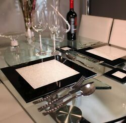 New Set Of Six Black Placemats With Crystals Dining Dinner Table