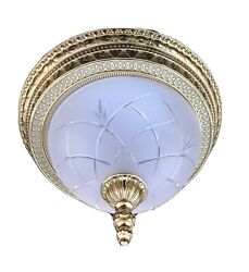 French Egg And Dart Frosted Cut Glass Bronze Brass Chandelier Flush Mount 14andrdquo