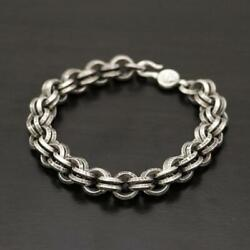Pre-owned Chrome Hearts Double B Ring Bracelet 925 Silver 51.3g