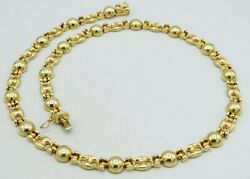 14k Yellow Gold Anchor And Dome Link Necklace Italian Made 18 8mm 33.8g S910