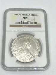 1773-cnb Ry Russia 🇷🇺 Rouble Catherine Ii Ngc Au 53 Silver World 🌍 Coin Rare