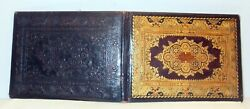 Exquisite Ornate Antique Gold Tooled Embossed Leather Holder Book Cover