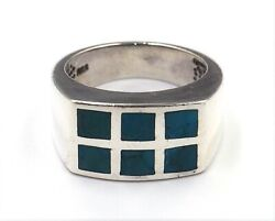 Turquoise And 925 Sterling Silver Ring Wide Band Women' Men' Fine Jewellery Size M