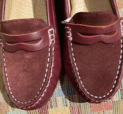 """Womens Lands End """"Kate"""" Leather Suede Penny Loafer Burgundy 7.5 NIB $22.00"""