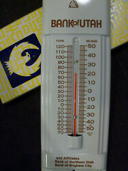 Vintage Bank Of Utah Tin Thermometer Made U.s.a. New Old Stock