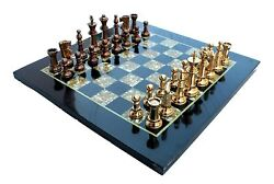 15 X 15 Collectible Chess Game Board Set Made With Black Marble Mother Pearl