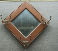 Antique Beveled Glass Wall Mirror With Cast Iron Hooks