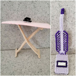 New Plastic Canvas Yarn Doll Furniture Vacuum Ironing Board With Iron Set