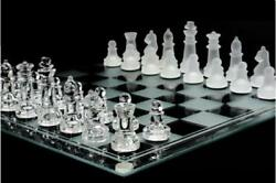 10 Inch Glass Chess Set Featuring Frosted And Clear Glass Chess Pieces