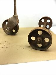 """Antique Cast Iron Industrial Cart Wheels 6"""" Diameter They Rotate Freely"""