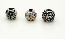 Pandora Silver 925 14ky Gold Assorted Flower Slide And Clip Bead Charms New
