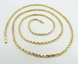 14k Yellow Gold Rope Chain Necklace Solid Diamond Cut 31 2.4mm 21.7g S1008